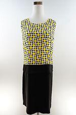 New Women's Casual Sleeveless Knee Length Shift Dot Dress Yellow, Black