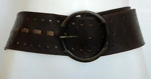 Vintage JAG Brown and Gold Tone Genuine Leather Wide Women's Waist Belt Size L/X