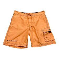 Vintage Harley Davidson Swim Trunks Mens 32 Orange Pockets Spell Out Drawstring
