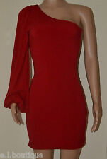 VICKY MARTIN red one shoulder long sleeved mini fitted bodycon dress BNWT 1 8 10