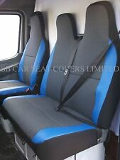 FORD TRANSIT VAN (SMILEY) SEAT COVERS - 89D + BLUE LEATHERETTE TRIM