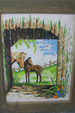 VINTAGE FRAMED NEEDLEPOINT OF TWO HORSES IN A FIELD, ANTIQUED WOODEN FRAME