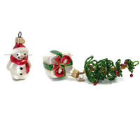 Blown glass snowman and ornament with tree attached Poland Christmas