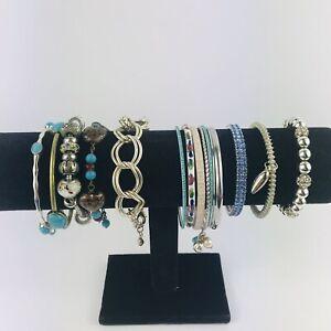 Armful Blue Silver Tone Metal Chunky Statement Bangles Bracelets Boho Bundle