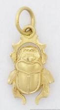 18k Yellow Gold Egyptian Scarab Beetle Bug Charm Pendant