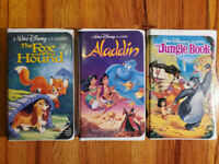 (Lot3) Disney Black Diamond Classic Fox Aladdin Jungle Book VHS RARE HTF OOP