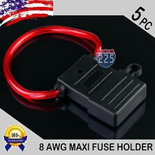 5 Pack 8 Gauge MAXI Style Inline Blade Fuse Holder With Waterproof PVC Cover US