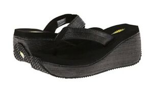"VOLATILE Womens ""BAHAMA"" Wedge Sandal Flip Flop ** BLACK - Size 9M ** New In Box"