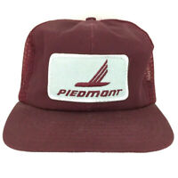 Vtg Piedmont Airlines Hat Patch Cap Logo Mesh Snapback Made USA Trucker Baseball