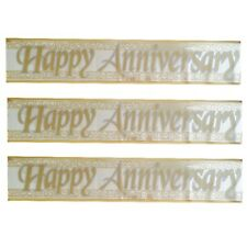 HAPPY ANNIVERSARY PARTY FOIL WALL BANNER ~ 90CM LONG ~ DESIGN REPEATED 3 TIMES