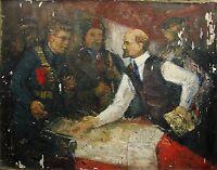 Russian Ukrainian Soviet oil Painting Realism Lenin people revolution sketch