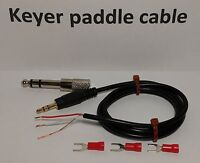 """CW Keyer paddle Cable 3 feet 1/4"""" (6.35mm) 1/8"""" (3.5mm), Straight key Morse code"""