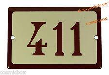 Plaque émaillée marron beige NUMERO de RUE 411 émail enamel plate street number