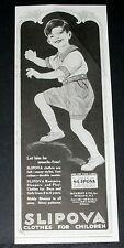 1921 OLD MAGAZINE PRINT AD, SLIPOVA CLOTHES CHILDREN, LET HIM BE MUSCLE-FREE!