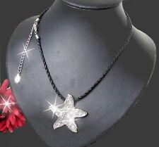 K870* Kette Halskette Seestern Silber schwarz schmuck