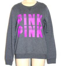 Victoria's Secret Pink Womens Pullover Crewneck Sweatshirt Sz XS Gray & Fuschia