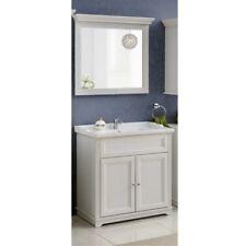 Badmöbel Set Badezimmer 3 tlg Waschbecken Spiegel Unterschrank Weiß Landhaus