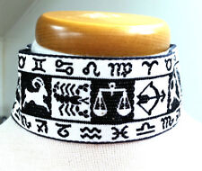 Astrology Choker White and Black Material Vintage Necklace