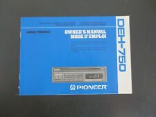 Pioneer Deh-750 Cd Player Super Tuner Iii~Owner's Manual Only~1990