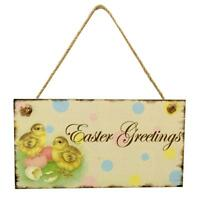 Vintage Wooden Board Door Wall Hanging Sign Plaque Easter Day Party Home Decor