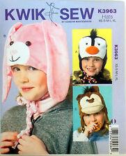KWIK SEW SEWING PATTERN ANIMAL HAT BUNNY MONKEY PENGUIN ALL SIZES INCL. # K3963