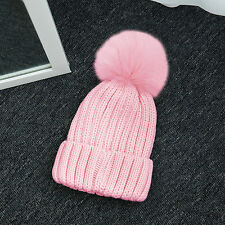Women Kids Winter Warm Solid Knit Real Fox Fur Pompoms Hat Ski Skate Beanie Cap