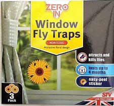 3 Paquet Zero IN Fenêtre Mouche Killer Tournesol Autocollant Tue Insectes Pièges