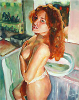 Teen Girl Female Portrait Nude Naked Bath Room Mirror Oil Fine Art Painting