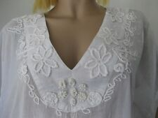 Kaftan (From Europe) White Cotton Embellished embroidery Exquisite Coverup 14-16