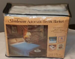 Vintage 1982 Sunbeam Automatic Electric Heated Blanket Blue twin BRAND NEW