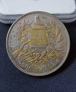 Guatemala 1894 Un Peso Silver Coin + VF