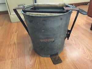 VINTAGE Erie Automatic Mop Wringer Bucket Galvanized Metal With Wood Rollers