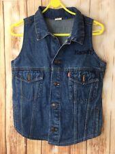 Vintage Men's  80's Harrah's Levi's Denim Blue Sleeveless Vest Waistcoat 42R