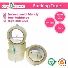 144 Rolls 45 Micron Clear Packing Packaging Sticky Tape Shipping 75 Meter x 48mm