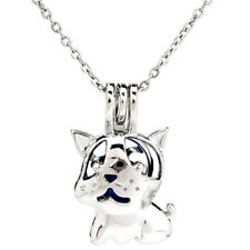 K910 Silver Cute Dog Beads Cage Oil Diffuser Pearl Locket Necklace Pendant