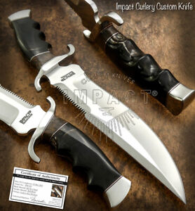 IMPACT CUTLERY RARE CUSTOM D2 COMBAT SHARK FIGHTER BOWIE KNIFE BULL HORN HANDLE