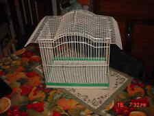 Vintage MCM Style Wire Metal Hanging Bird Cage white/aqua