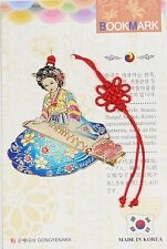 Traditional Korean reader Metal Bookmark - Korean zither(Blue)