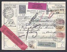 STORIA POSTALE REGNO 1929 Modulo Pacchi Postali 2,5L da Catania a Zurigo (E8)