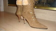 STUNNING NEW SOLD MANOLO BLAHNIK SUEDE/SHEARLING ANKLE BOOTS