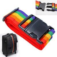 2 x Rainbow Adjustable Strong Extra Safety Travel Suitcase Luggage Belt Straps