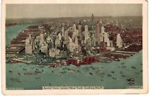 Postcard NY New York City Aerial View Lower New York Looking North 1938