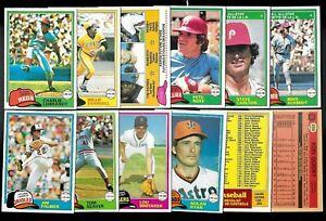 1981 OPC O PEE CHEE TOPPS MLB BASEBALL CARD WHITE BACK 126-250 SEE LIST