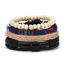 4pcs Fashion Mens Leather Cord Beads Wristband Cuff Bracelet Bangle adjustable