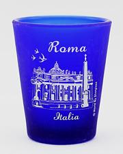 ROME ITALY VATICAN COBALT BLUE FROSTED SHOT GLASS SHOTGLASS