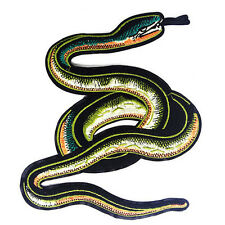 Green Snake Embroidery Patches Clothes Decoration Iron on Motifs Applique
