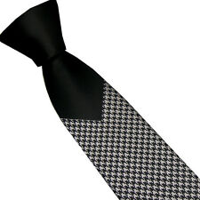 LAMMULIN Novelty Black Knot Contrast Silver with Black Woven Necktie Skinny Tie