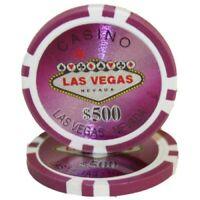 100 Purple $500 Las Vegas 14g Clay Poker Chips New