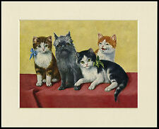 AFFENPINSCHER AND CUTE KITTENS CHARMING DOG CAT PRINT MOUNTED READY TO FRAME