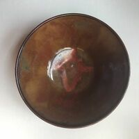 "6"" D x 3"" H Brown & Red Ceramic Bowl Art Studio Nice"